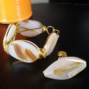 White and Brown Agate Bracelet and Ring Set